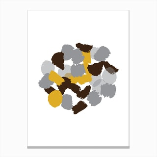Abstract Mustard and Grey Round Paint Blotches Canvas Print