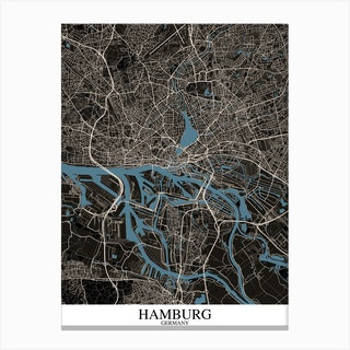 Hamburg Black Blue Canvas Print