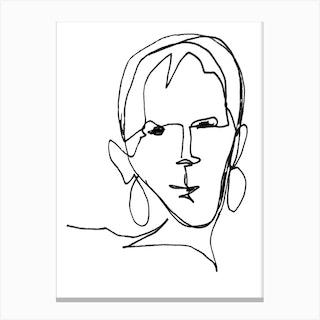Geraldine Female Black And White Line Art Canvas Print