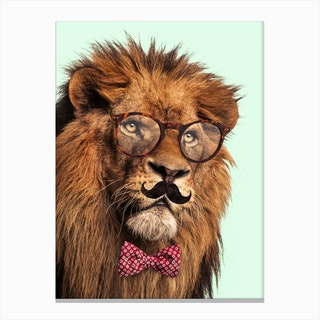 Moustache Lion Canvas Print