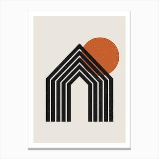 Abstract Geometric Rainbow Three Canvas Print