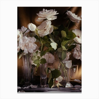 White Roses On Gold Canvas Print