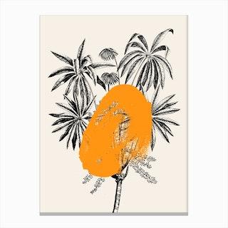 Tropical Tree Orange Canvas Print