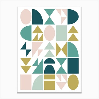 Geometry In Teal And Blush Canvas Print
