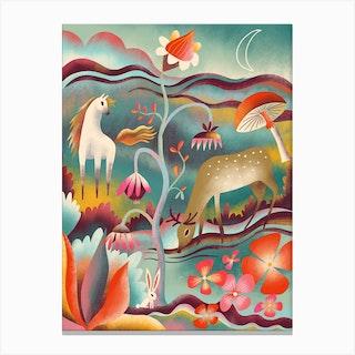Night Garden Animals Canvas Print