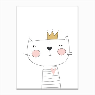 Cute White Cat with Crown Canvas Print