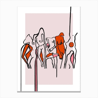 Nudists Red Canvas Print
