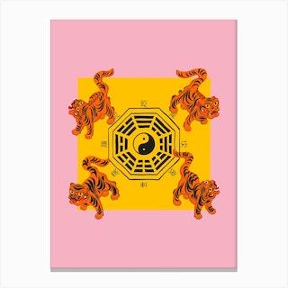 Bagua Tigers Pink Canvas Print