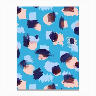 Abstract Stains Blue Canvas Print