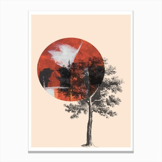 Red Moon with Black Tree Canvas Print