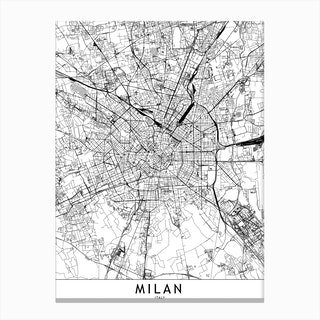 Milan White Map Canvas Print