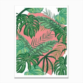 Funky Green Leaves with Pink Background Canvas Print