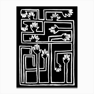 Hand Salad Bw Canvas Print
