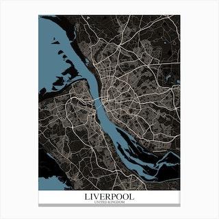 Liverpool Black Blue Canvas Print
