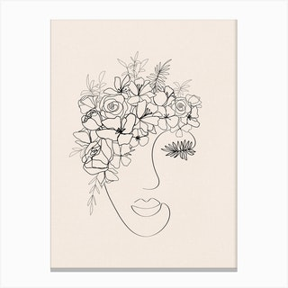 Flower Face Line Drawing Canvas Print
