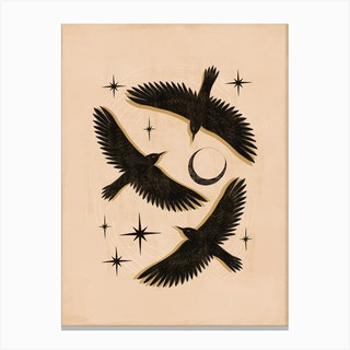 Black Birds Flying With The Moon Canvas Print