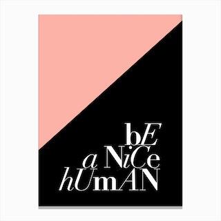 Be a Nice Human Canvas Print