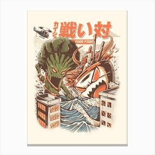 Brocco Vs Ramen Kaijus Canvas Print