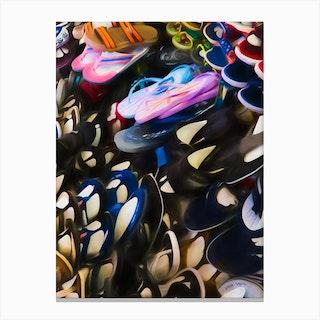 Sandals Of Plastic Canvas Print