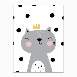Scandi Grey Cat With Crown And Polka Dots Canvas Print
