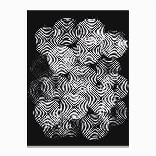 Radial Block Print In Black Canvas Print
