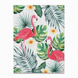 Tropical Flamingos Canvas Print
