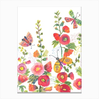 Hollyhocks And Butterflies Canvas Print