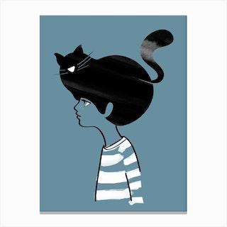Cat Head Blue Canvas Print