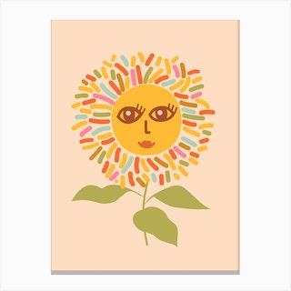 Sunflower Opened Eyes Peachy Boho Canvas Print