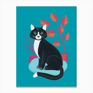 Black And White Tuxedo Cat Canvas Print