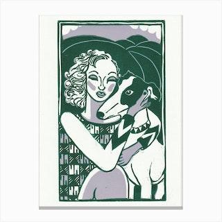 Lady & Dog Green & Lilac Canvas Print