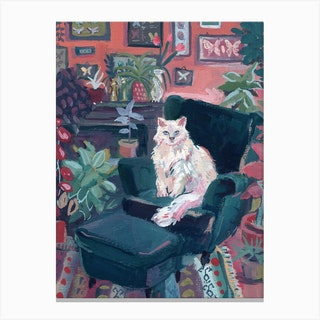 White Cat In Colorful Interior Matisse Inspired Canvas Print