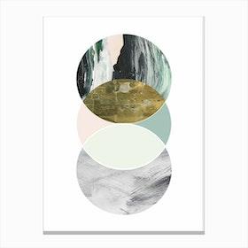 Textured Abstract Peach and Grey Circles Canvas Print