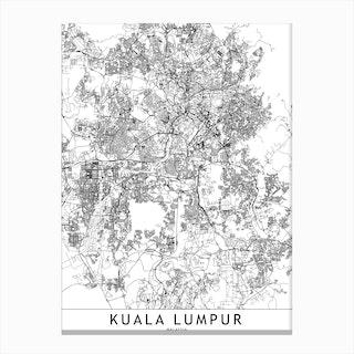 Kuala Lumpur White Map Canvas Print