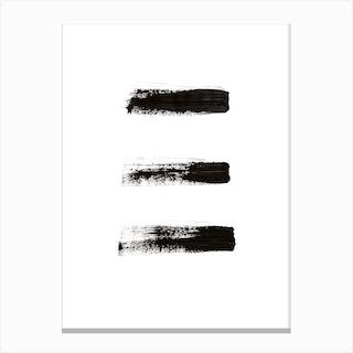 Three Minimal Black Abstract Canvas Print