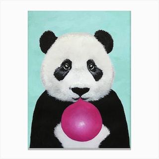 Panda With Bubblegum Canvas Print