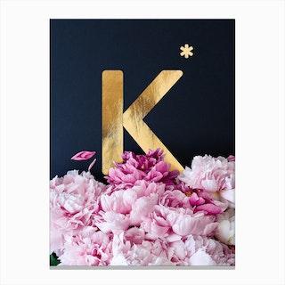 Flower Alphabet K Canvas Print