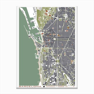 Barcelona Engraving Map Canvas Print