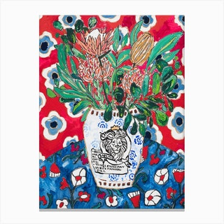 Red Floral Still Life After Matisse With British Lion Vase Canvas Print