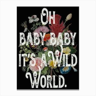 Quote Lyrics Wild World Canvas Print