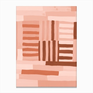 Painted Color Block Grid In Pink Canvas Print