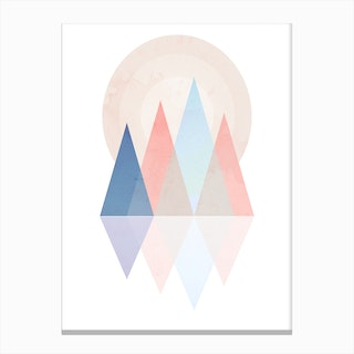 Pink Blue Scandi Mountains Canvas Print