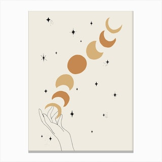 Hands Celestial Moon Phases Light Canvas Print