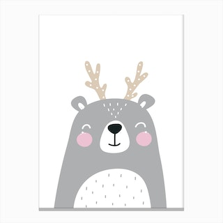 Scandi Grey Bear with Antlers Canvas Print