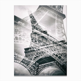 Eiffel Tower Double Exposure Canvas Print