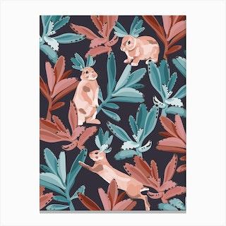 Rabbits In The Succulent Jungle Canvas Print