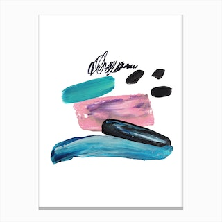 Abstract Pink and Teal Paint Strokes Board Canvas Print