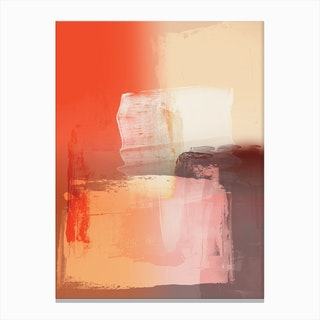 Abstract Brushmarks Orange Pinks Canvas Print