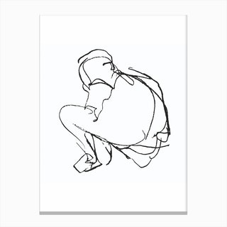Sitting Figure Sketch Canvas Print
