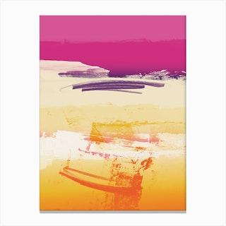 Expressive Landscape Pink Violet Orange With Scribbles Canvas Print